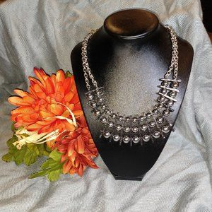 Chico's 3 layer Silver Bead Bridged Over Necklace